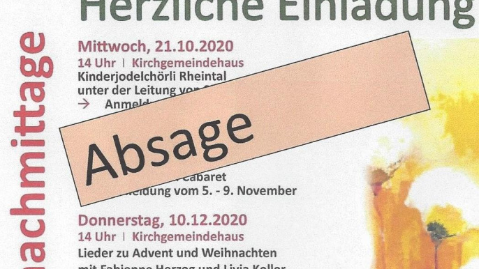 Absage Seniorennachmittage